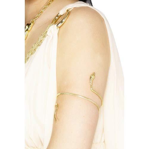 Smiffys-29082 Pulsera egipcia, Dorada, diseño de Serpiente, Color Oro, Tamaño único (Smiffy'S 29082)