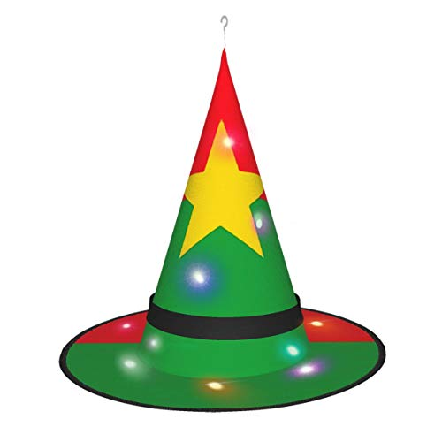 Hangdachang frica Bandera de Burkina Faso Encaje Bruja Hechicera Sombrero Disfraz Accesorio para Disfraz para Fiesta de Halloween Negro
