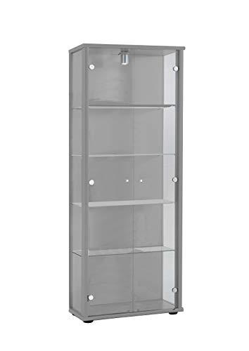 K-Möbel Glasvitrine in Silber (176x67x33 cm) mit 4 höhenverstellbaren Glasböden aus ESG; beleuchet; perfekt für Sammler;
