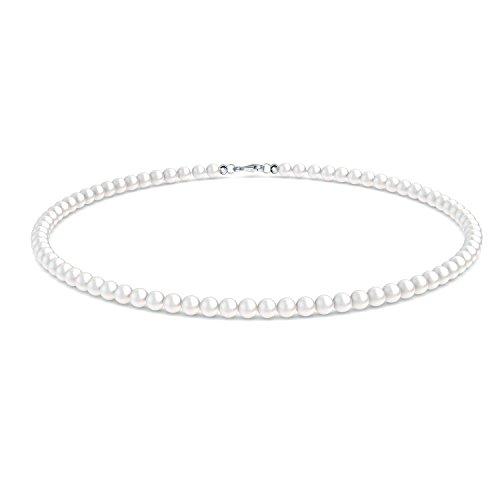 Brautkette Perlen Braut Perlenkette echte Perlen Zuchtperlen + inkl. Luxusetui + Perlenschmuck Braut Hochzeit Perlen Kette Damenkette Halskette kleine Perlen weiß Brautschmuck - FF366 SS925SWPE45