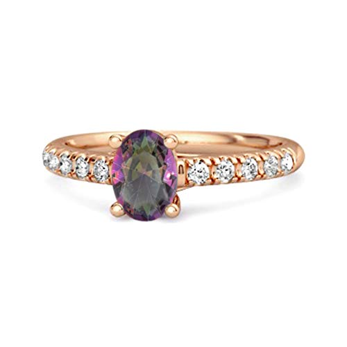 Shine Jewel Multi Elija su Solitario de Piedras Preciosas 1.50 Ctw Ovalado Plata de Ley 925 Chapado en Oro Rosa Flotante Aureola Anillo (13, topacio místico)