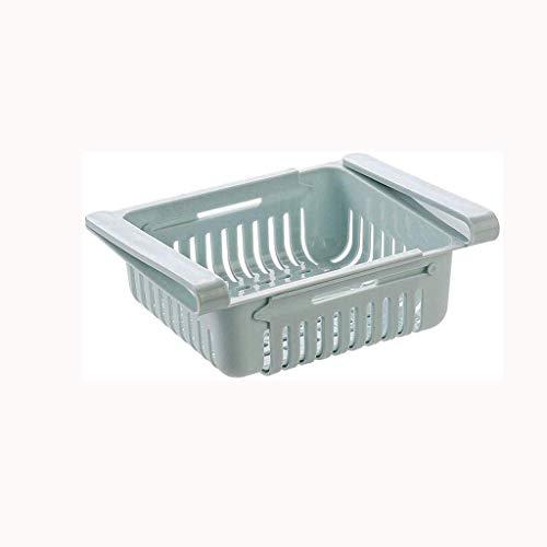 Caja de almacenamiento, caja de almacenamiento para nevera, retráctil, organizador de nevera, de cocina, deslizable debajo del estante, cajón, soporte para ahorro de espacio (color: azul)