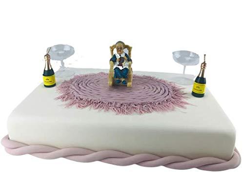 Cake Company Tortendekoration Oma Sarah mit Sektfalsche | Tortendeko Geburtstag | Motivtorte Oma
