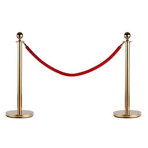 homcom Outsunny Transenne Elimina Separacode Paletti di Delimitazione con Corde Rosso Acciaio Inox Ф32 x 95CM Oro