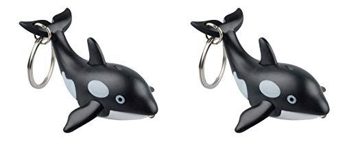 munkees 2X Schlüsselanhänger mit LED Licht und Sound, Tier-Motiv Sea Wal Fun Gadget, schwarz, 11119