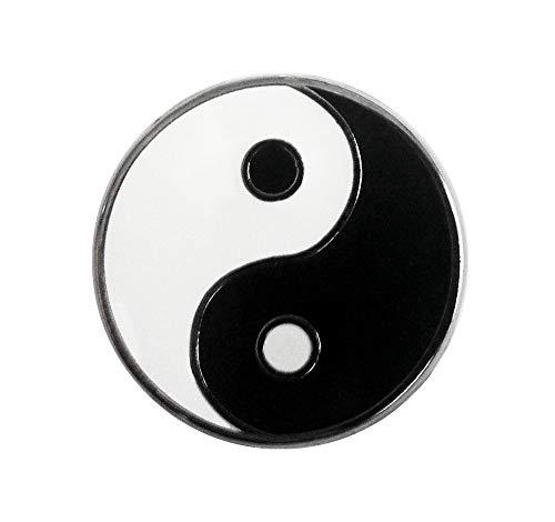 Pinsanity Black and White YinYang Symbol Enamel Lapel Pin