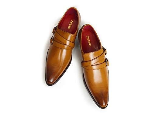 [ジーノ] ビジネスシューズ メンズ 革靴 靴 ロングノーズ フォーマル ヒールアップ 紳士靴 男性用 ブラウン[モンクストラップ] 27cm