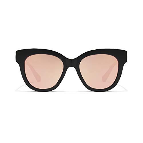 HAWKERS Gafas de Sol Audrey Estilo Butterfly, para Mujer, con Montura Negra Brillante y Rosa Dorada con Efecto Espejo, Protección UV400