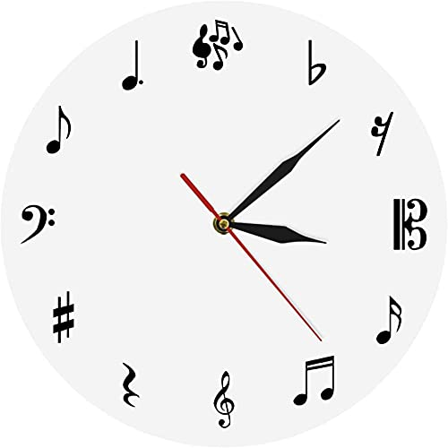 Grande decoración pared reloj música notas de música reloj de pared personalizado música icónica pared reloj música muestra pared reloj tiempo reloj regalo para el amante de la música fácil de leer pa