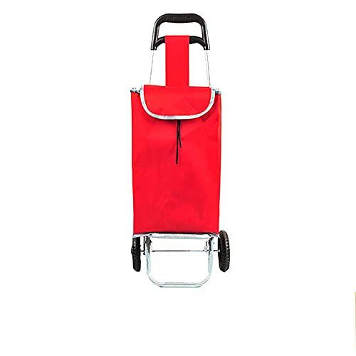 WYZXR KDMB Einkaufswagen 2 Räder, Push-Pull-Wagen Zusammenklappbar Treppensteigen Leichtes Utility Multifunktions-Einkaufswagen Markt Wäscherei Fitnessstudio Sport Camping Lebensmittel Rot