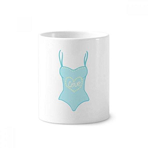 DIYthinker Illustratie Blauw Badpak Keramische Tandenborstel Pen Houder Mok Wit Cup 350ml Gift 9,6 cm hoog x 8,2 cm diameter