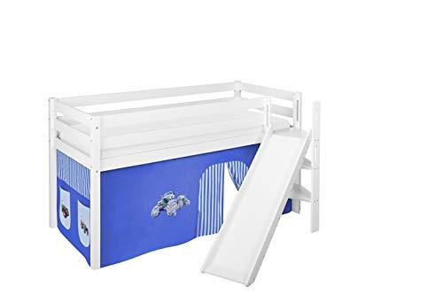 Lilokids Spielbett JELLE Trecker Blau - Hochbett weiß - mit schräger Rutsche und Vorhang