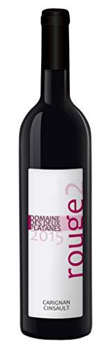 Domaine des Deux Platanes Wein - Rouge2 2015 - Weinflasche 1 x 0,75 l - Weinqualität aus Frankreich - Rotwein - Gekeltert aus Carignan und Grenache - Bio