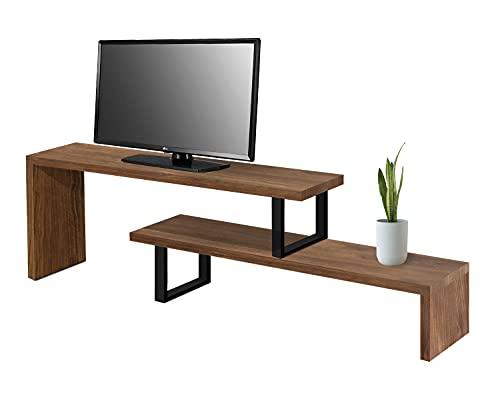 Mesa televisión, Mueble TV Salón Diseño Industrial-Vintage, Extensible de 140 cm a 170 cm, Madera Maciza Natural, Patas Metálicas.