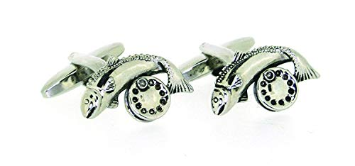 Men's country themed pair of fish and country boutons de manchette reel fishing