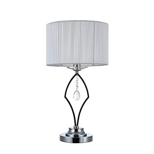 Lampe à poser, lampe de table, lampe de chevet, style moderne, Art Deco, Armature en Métal couleur chrome, Abat-jour en tissu couleur blanc, 40 W E14 220V -240V