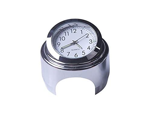 FENGFENG Sun Can 22-25mm Motorycle Handlebar Reloj Termómetro Moto Manillar Montaje Dial Reloj Reloj Termómetro Tempor Gauga Ajuste para Yamaha Fit For Kawasaki (Color : White Clock)