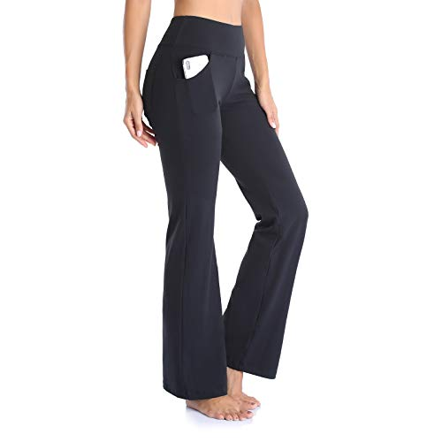 Gimdumasa Pantalón de Yoga Mujer Pierna Ancha Salón Bootcut Leggings Alta Cintura Pantalones De Entrenamiento con Bolsillos para Pilates Fitness Yoga GI604 (Negro, L)