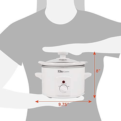 Elite Gourmet MST-250XW Slow Cooker, 1.5 Quart, White