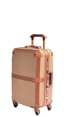 Cabin Vintage Style Suitcases Hard Shell Metal Frame Retro 4 Wheel Luggage TSA Lock Bags HLG601 Brown