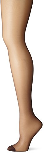 Hanes Women's Control Top Reinforced Toe Silk Reflections Panty Hose, Barely Black, A/B