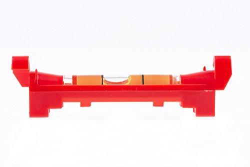Schnurlibelle, Wasserwaage neon orange, 74mm Breite, Libelle 40mm aus Kunststoff für bis zu 3mm dicke Schnüre