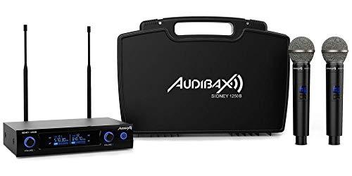Audibax - Sidney 1250 B - Micrófono Inalámbrico Profesional UHF Doble - Set de 2 Micrófonos de Mano + Maleta - Rango de Cobertura 80 Metros - 1 Receptor Dual con Indicador Display - Pilas Tipo AA