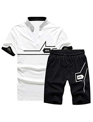 Lavnis Men's Casual Tracksuit T-Shirts and Shorts Running Jogging Athletic Sports Set (XL, White)