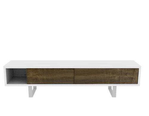 TemaHome Und Metall Honeycomb Panel Plus Beine Aus Metall Slide TV Tisch, Beine Aus Metall mit Matt Wei? Plus Walnuss Furnier T?ren, 198 x 45 x 48 cm, Wei?