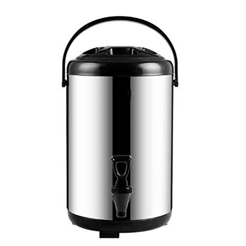 JSHFD Thermo-Getränkespender 12-Stunden-Wärmespeicher-Familientreffen aus Edelstahl mit Isolier-Thermoskanne (Color : Black, Size : 6L)