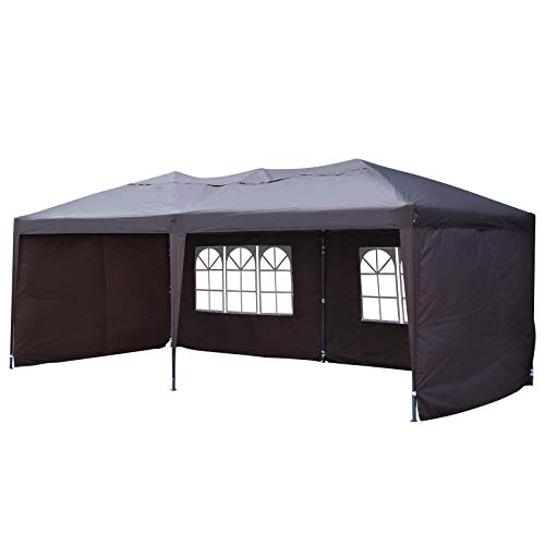 Outsunny 10' x 20' Easy Pop Up Canopy Party Tent with 4 Removable Sidewalls -Rust Red
