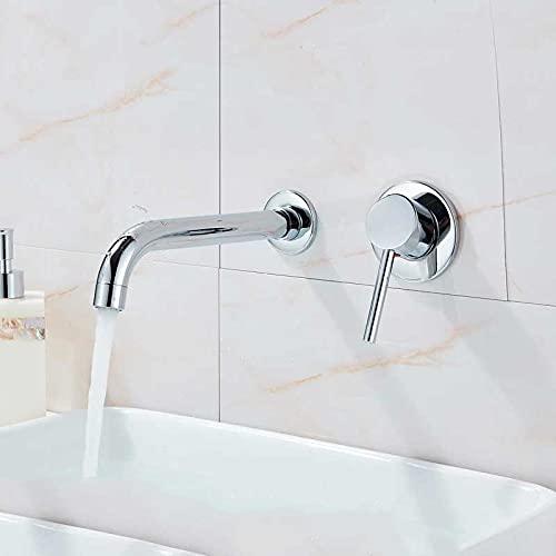 IOMLOP Grifo de la cocina Grifo para lavabo montado en la pared, cromo brillante, monomando, mezclador de baño, grifo, caño giratorio, grifo para lavabo, cromo