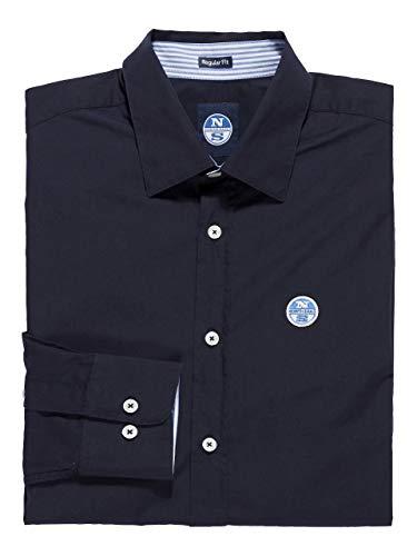 NORTH SAILS Saint-Tropez Herren Hemd in Navy Blau Popeline Schlanke Passform mit Knöpfen mit Voller Knopfleiste und Langen Ärmeln - XL