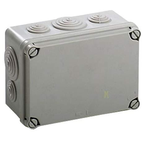 Kunststoff Klemmenkasten mit elastischen Kabeltüllen und Hutschiene (162x116x76 mm, grau)
