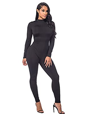 Sedrinuo Women Autumn Long Sleeve High Neck Bodycon Tight Full Length Jumpsuits Rompers,Black,4/6(Small) from