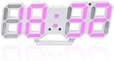 Office Pared estereoscópica Reloj Digital LED de Alarma del Reloj de Tabla de Carga USB