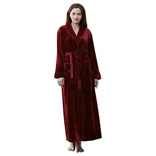Bademantel Damen Herren Fleece Morgenmantel Bodenlange Nachthemden Kimono Pajamas Kuscheliger Saunamantel Warmer Winter Schlafanzug Mit Taschen Und BindegüRtel