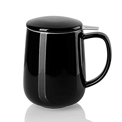 Sweese 204.112 Porcelain Tea Mug with Infuser and Lid, 20 OZ, Black