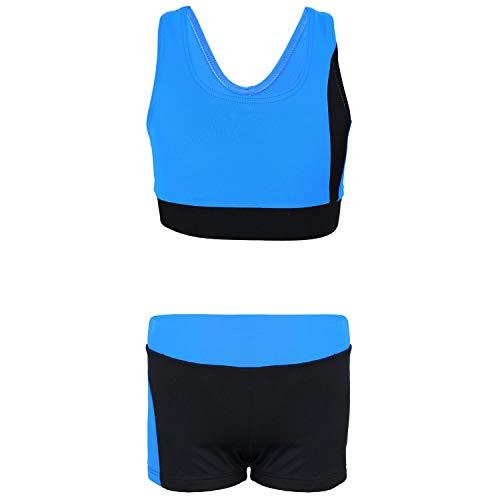 Aquarti Mädchen Sport Bikini - Racerback Bustier & Badehose, Farbe: Schwarz/Blau, Größe: 140