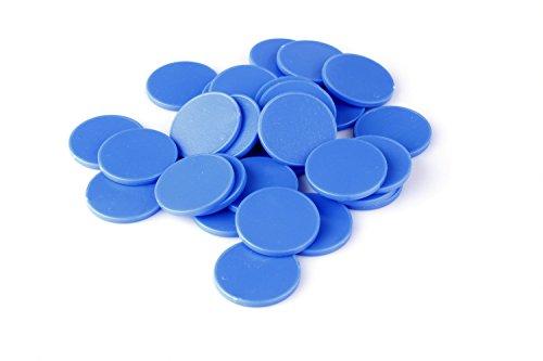 Chip da 1Euro per carrello per la spesa in 7colori, utilizzabili anche come monete da gioco, Plastica, azzurro genziana, 100 Pezzi