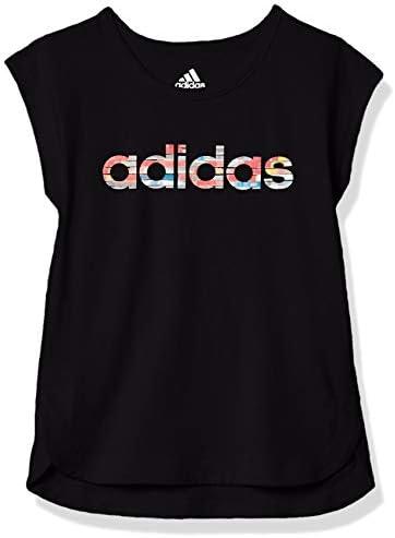 adidas Girls Big Short Sleeve Side Slit Tee T Shirt Black Large product image