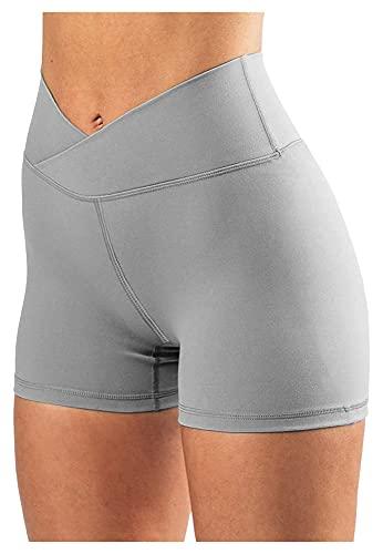 Xhwyf Pantalones Cortos de Ciclismo de Cintura Alta para Mujer, Pantalones Cortos de Yoga de Fitness de cinturón Cruzado, adecuados para Fitness, Correr, Comprar, Leggings (con Bolsillos)