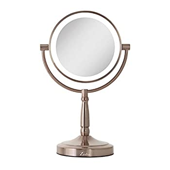 Zadro LED Lighted Dual-Sided 10X/1X Magnification Cordless Vanity Beauty Makeup Mirror Rose Gold