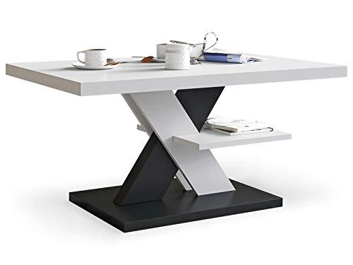 Viosimc Moderner Wohnzimmertisch, Couchtisch Weiß & Schwarz, Wohnzimmer Sofatisch Kaffeetisch, Modern Matt Sofa Tisch mit Großer Ablage, Mittel- oder Beistelltisch für Tee und Kaffee