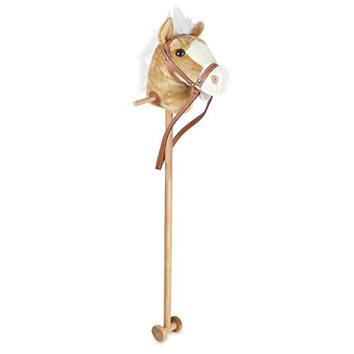 Hobby Horse Toy with Sounds, Handles and Wheels, Light Brown