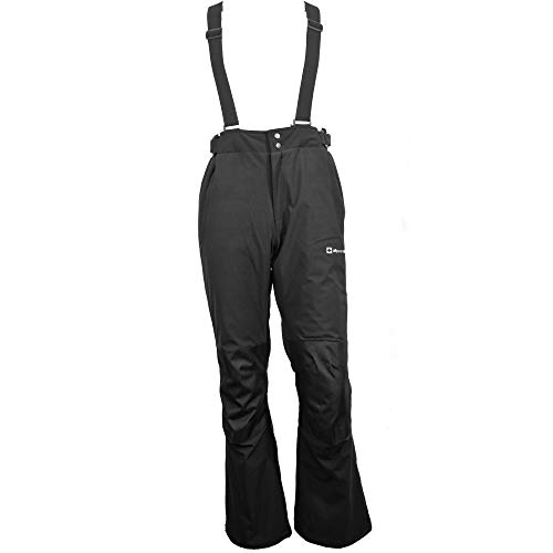 Alpine Swiss Mens Waterproof Snow Pants with Removable Suspenders Insulated Winter Snowboarding Ski Pants BLK Large