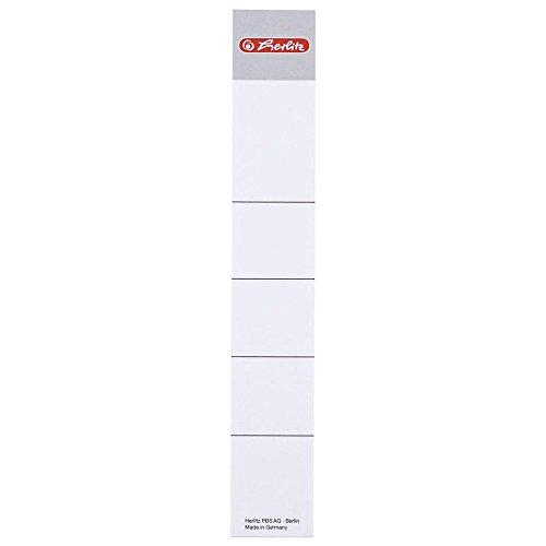 Herlitz 9743154 Rückenschild 30 x 190 mm für 5 cm-Ordner, zum Einstecken, 10 Stück, weiß