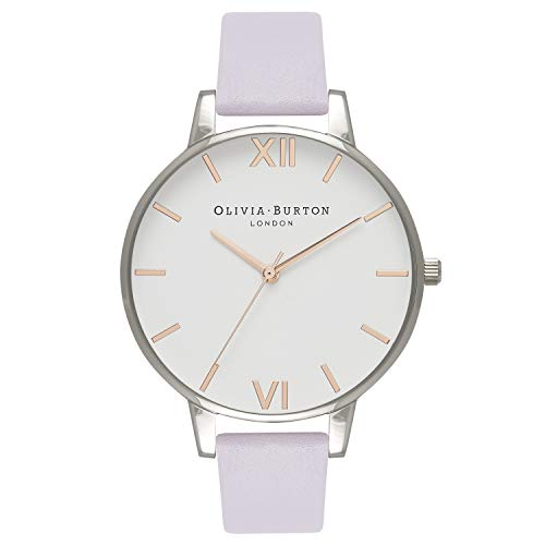 Olivia Burton Big Dial White Dial Violet Leather Ladies Watch OB16BDW37