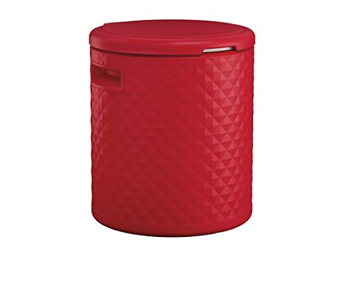 Suncast Resin Cooler Side Table with Removable Liner - Lightweight Outdoor Patio Cooler with 54 Qt. Capacity - Backyard Decor for Storing Beverages, Bottles and Cans - Red
