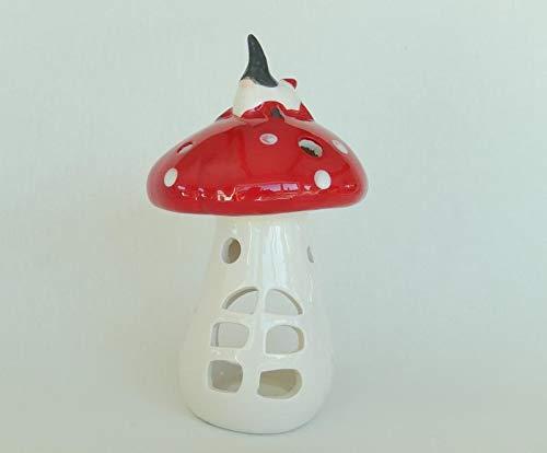 Trendshop-online Windlicht Pilz mit Wichtel Keramik 18 cm Pilzhaus Fliegenpilz Schwammerl Deko Weihnachtsdeko Fensterdeko Adventdeko Teelichthalter Laterne